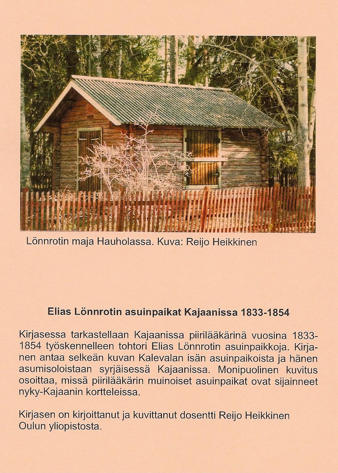 Elias Lönnrotin asuinpaikat Kajaanissa 2001 takakansi