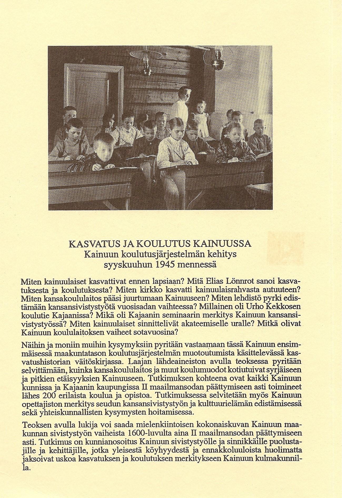 Kasvatus ja koulutus Kajaanissa 1995 takakansi