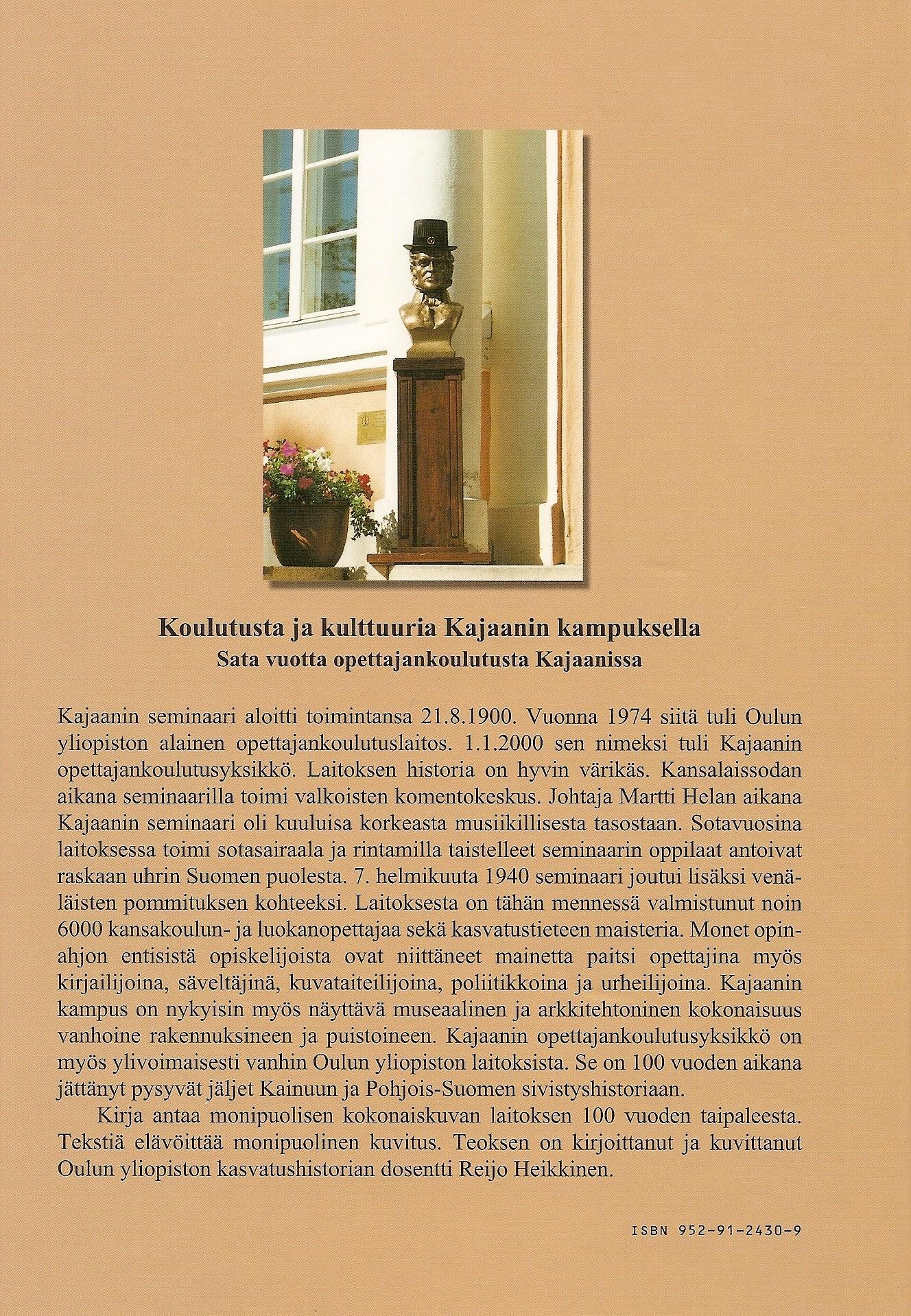 Koulutusta ja kulttuuria Kajaanin kampuksella 2000 takakansi
