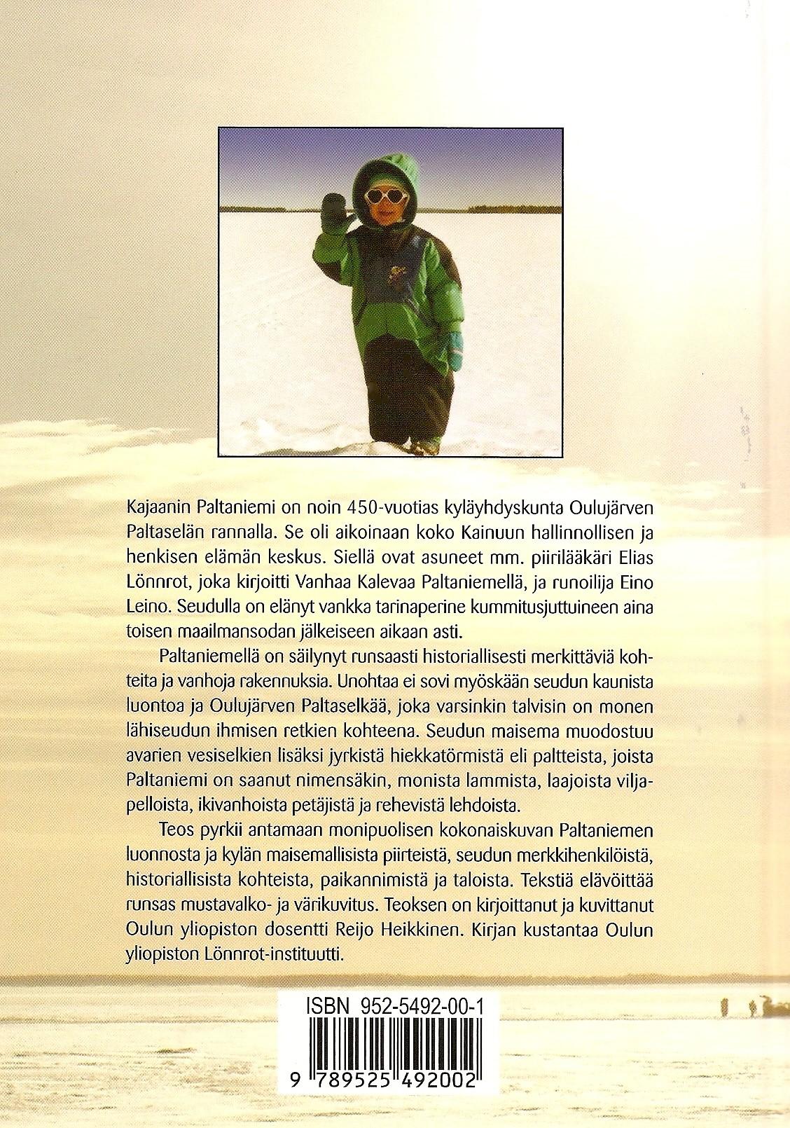 Paltaniemi - Myyttistä menneisyyttä ja kulttuurikuvia 2003 takakansi