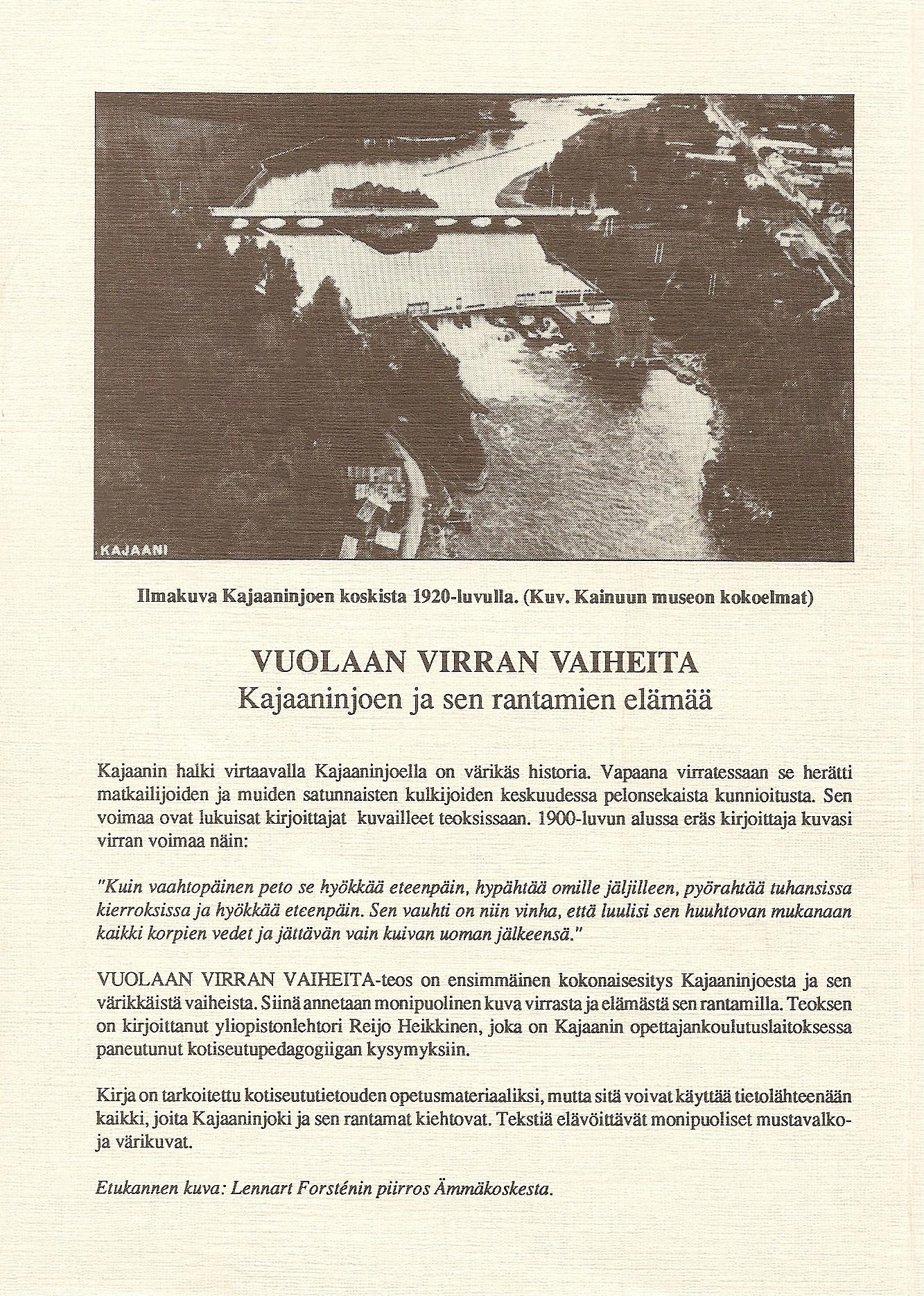 Vuolaan virran vaiheita 1991 takakansi