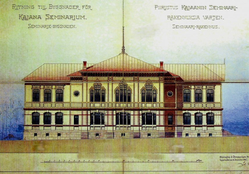Arkkitehti Jac. Ahrenbergin 1900 suunnittelema päärakennus. Rakennuksen länsipuoli.