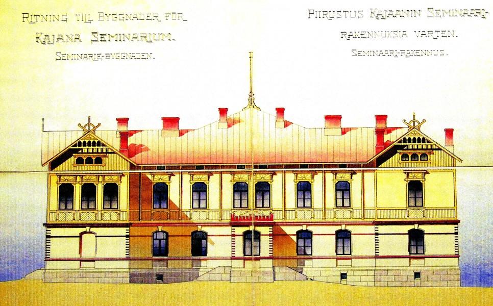 Kajaanin seminaarin päärakennus, joka paloi 1929.