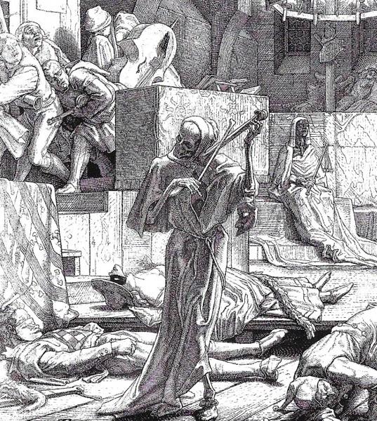 Kuolema käy tanssiaisissa. Steinbrecherin puupiirros.  Piirroksen taustalla olivatr Pariisissa järjestetyt tanssiaiset, joissa kolera pääsi valloilleen 1832.