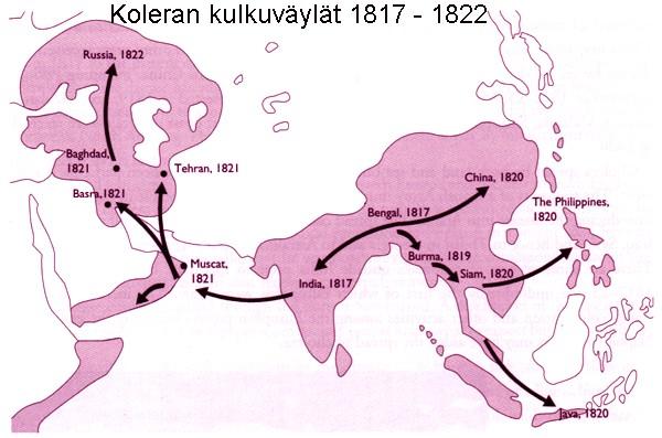 Koleran sai 1800-luvun alussa alkunsa Intiasta, josta se levisi lähinnä laivojen ja matkustajien mukana eri puolille maailmaa.