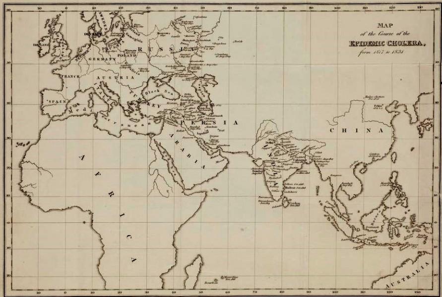 Vuoden 1831 koleran leviämiskartta